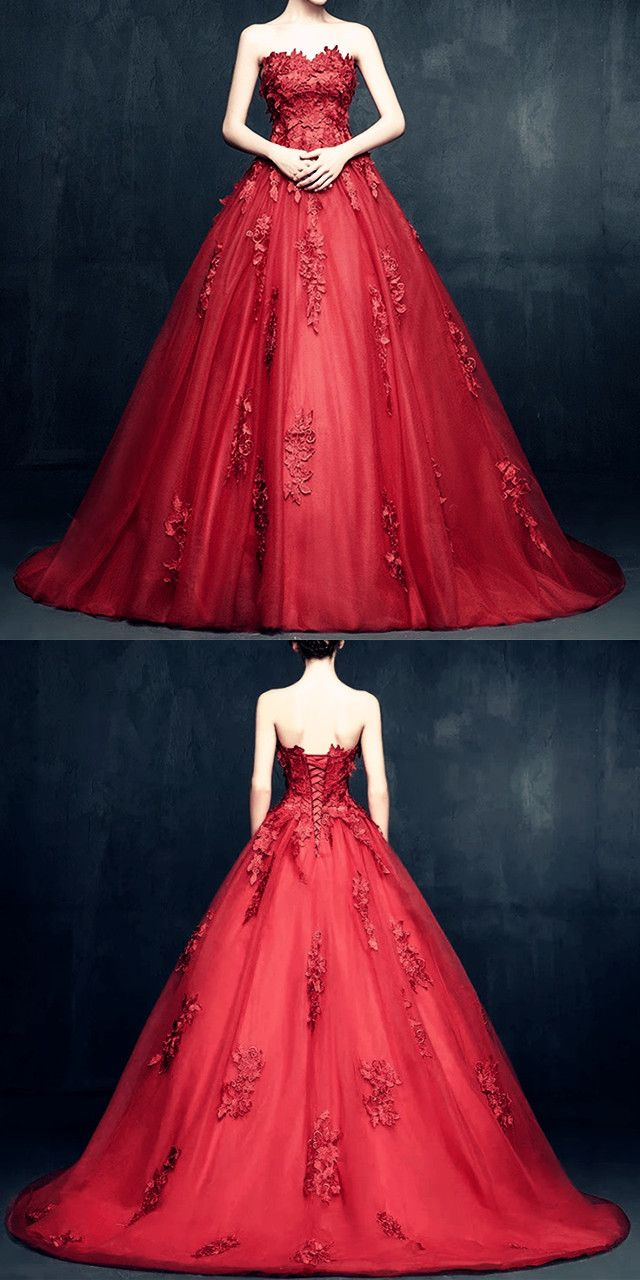 Floral Lace Sweetheart Neckline Tulle Ball Gowns Burgundy Wedding Dresses  2018