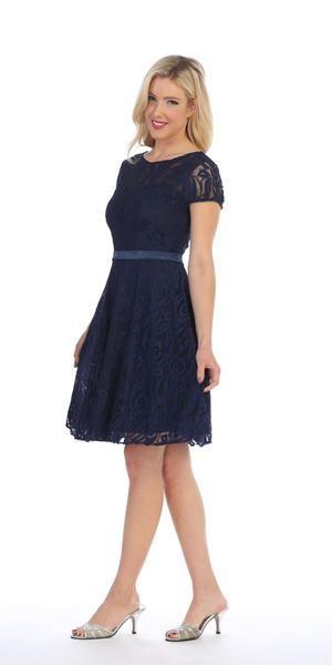 Celavie 6322 - Short Sleeve Lace Knee Length Dress Navy Blue #navyblueshortdress