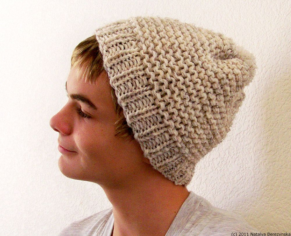 Mens Slouchy Beanie Knitting Pattern : Mens Slouchy Beanie in Oatmeal - Mens Hat - Pom Pom Hat - Mens Winter Hat - K...