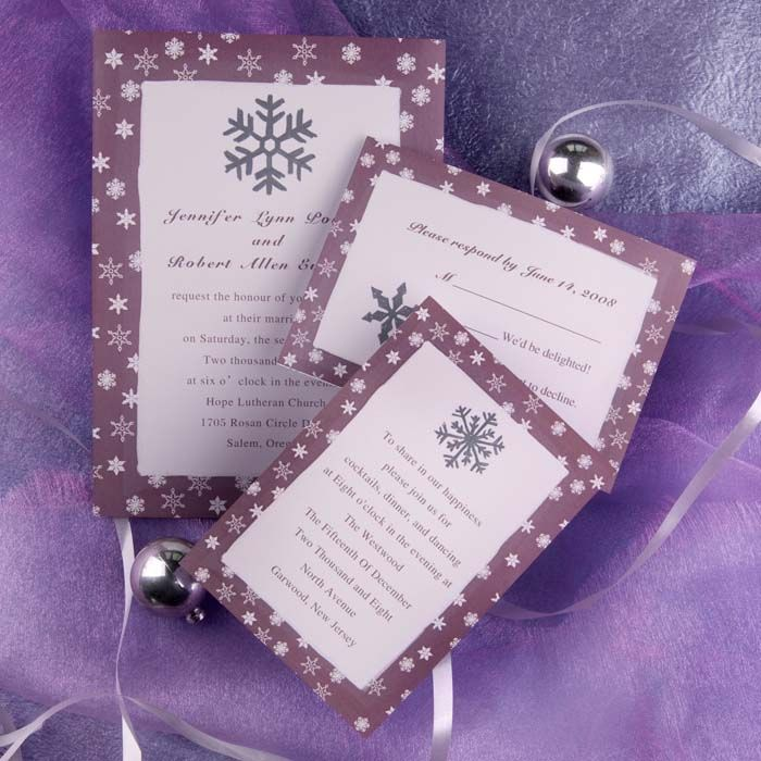 wedding invitations from michaels crafts%0A Snowflake Wedding Invite  Purple