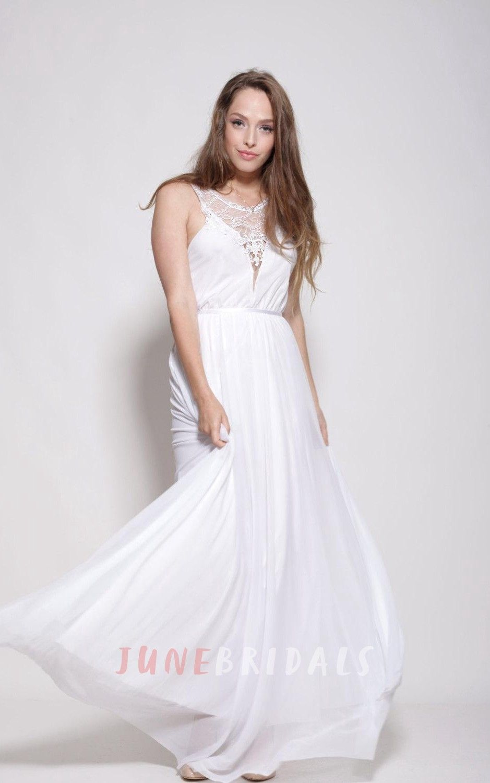 Chiffon lace weddig dress with embroideries bohemian wedding
