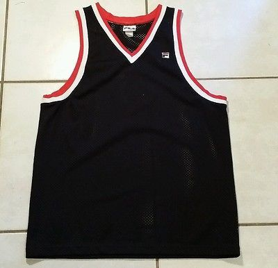 7def3b72d4bb Rare Vintage FILA Blank Mesh Basketball Jersey Men s Large