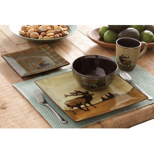 Better Homes And Gardens Roaming Elk 16 Piece Square Dinnerware Set Cabin Pinterest Table