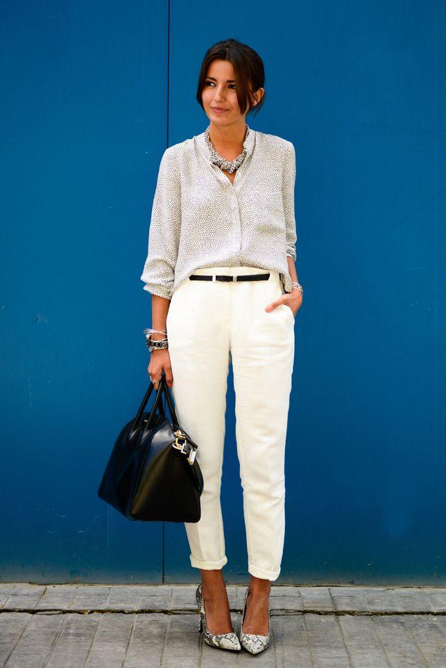 168d560c869e spring   summer - business casual - office wear - work outfit - summer  outfit ideas - spring outfit ideas - white crop pants + snake print  stilettos + black ...