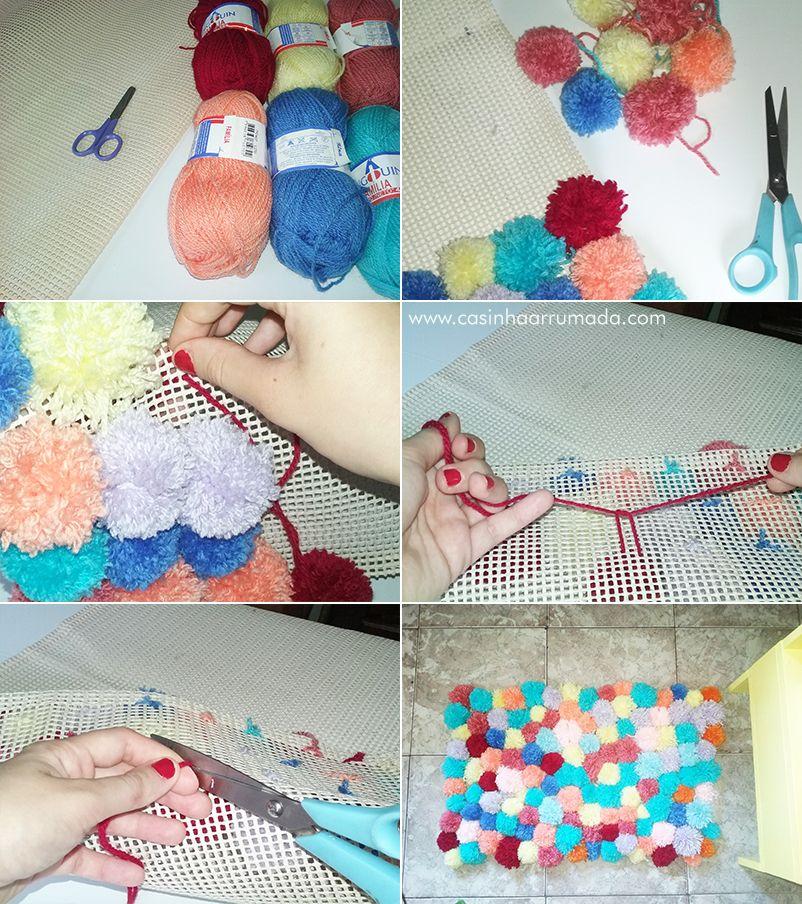 390021d0666d0 Como fazer tapete de pompom  1) Você vai precisar de  lã