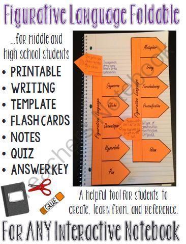 Figurative Language Interactive Notebook Foldable Flash