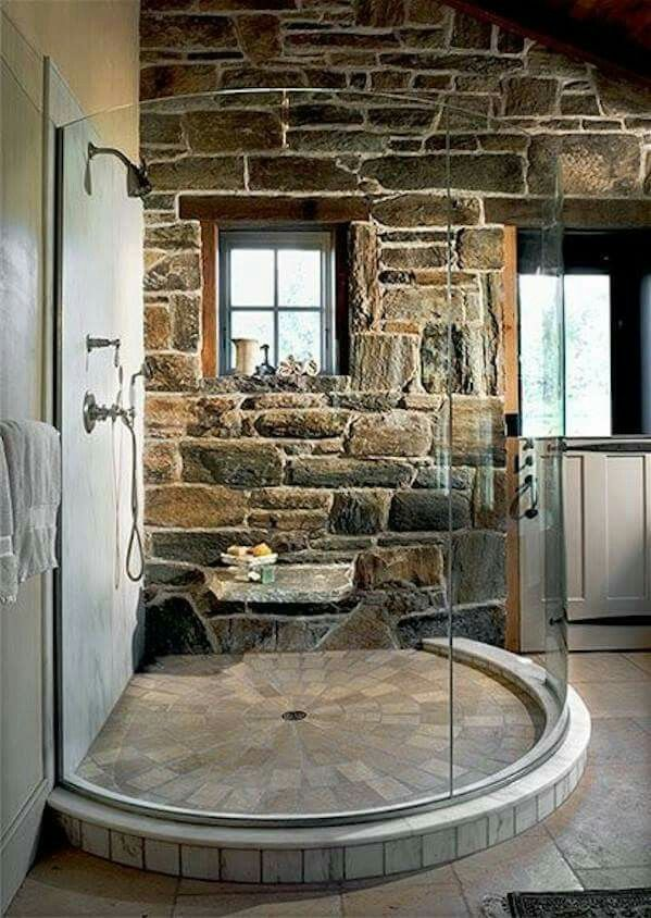 Stone shower Stone shower House decorating
