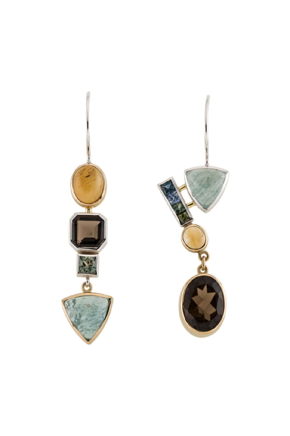 EARRINGS - STERLING SILVER, 18KT, SAPPHIRE, CITRINE, AQUAMARINE, SMOKEY QUARTZ #AQUAMARINE #MARCH #BIRTHSTONE #EARRINGS