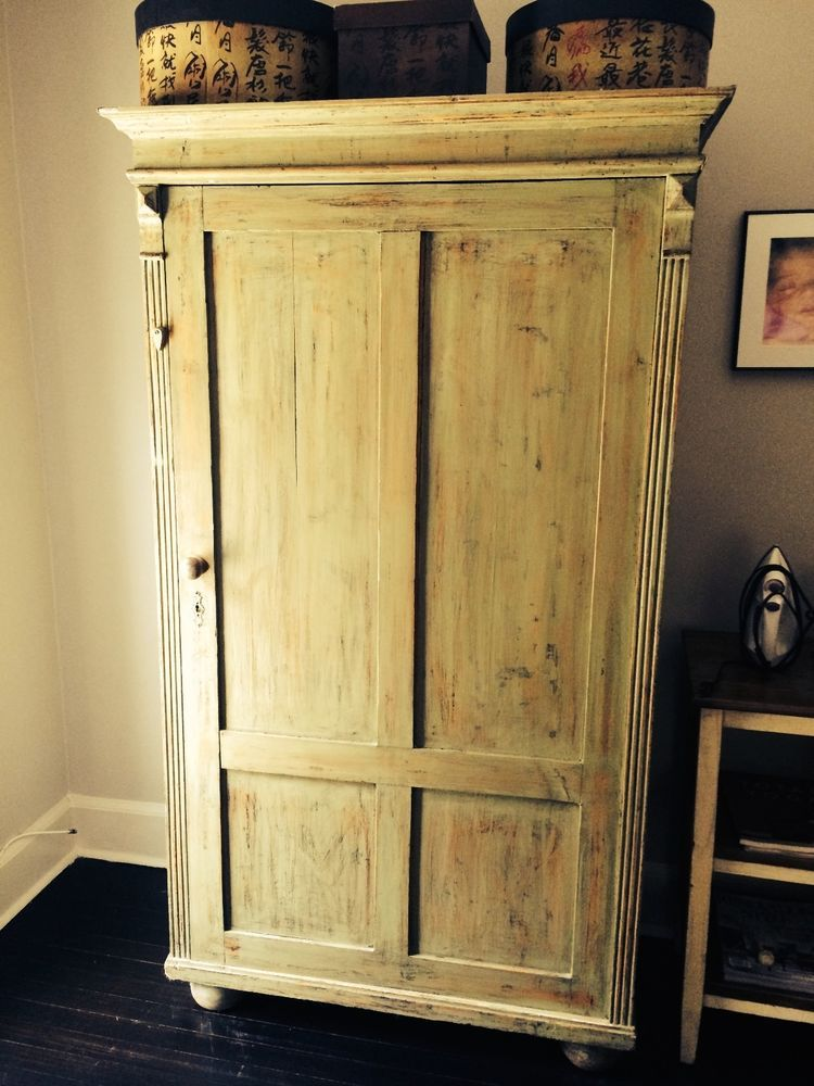 Shabby Chic Distressed Wood Armoire From Abc Home Carpet Nyc New