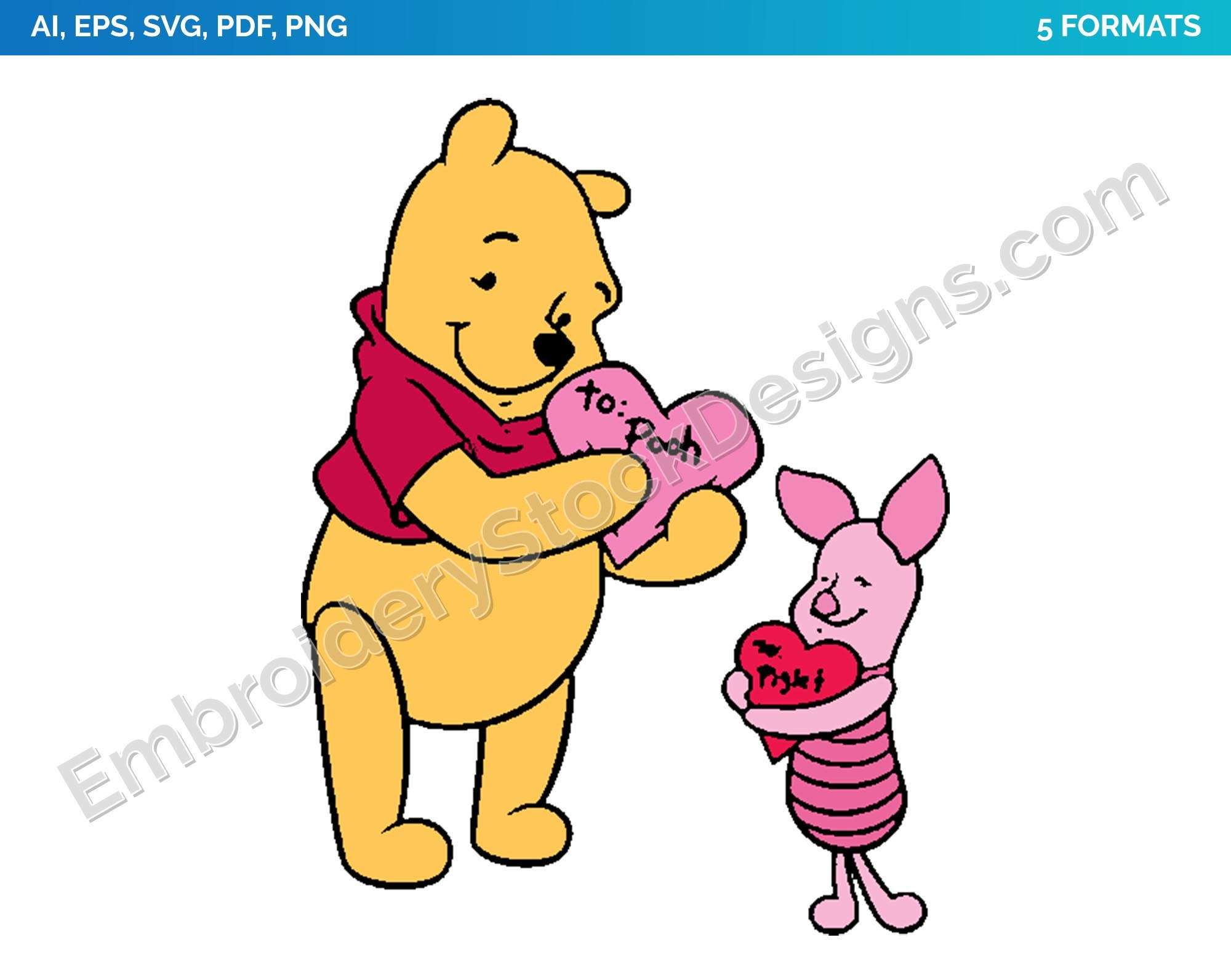 Winnie The Pooh Piglet Valentine Cards Valentine S Day Holiday Disney Character Designs As Svg Vector For Print In 5 Formats Dsnyh001175 World S Larges Character Design Cartoon Embroidery Disney Designs
