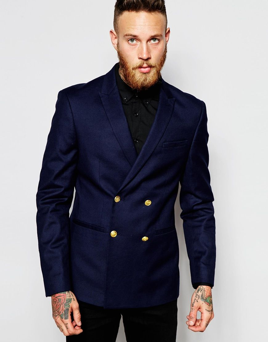 ASOS Skinny Double Breasted Blazer With Gold Buttons at asos.com