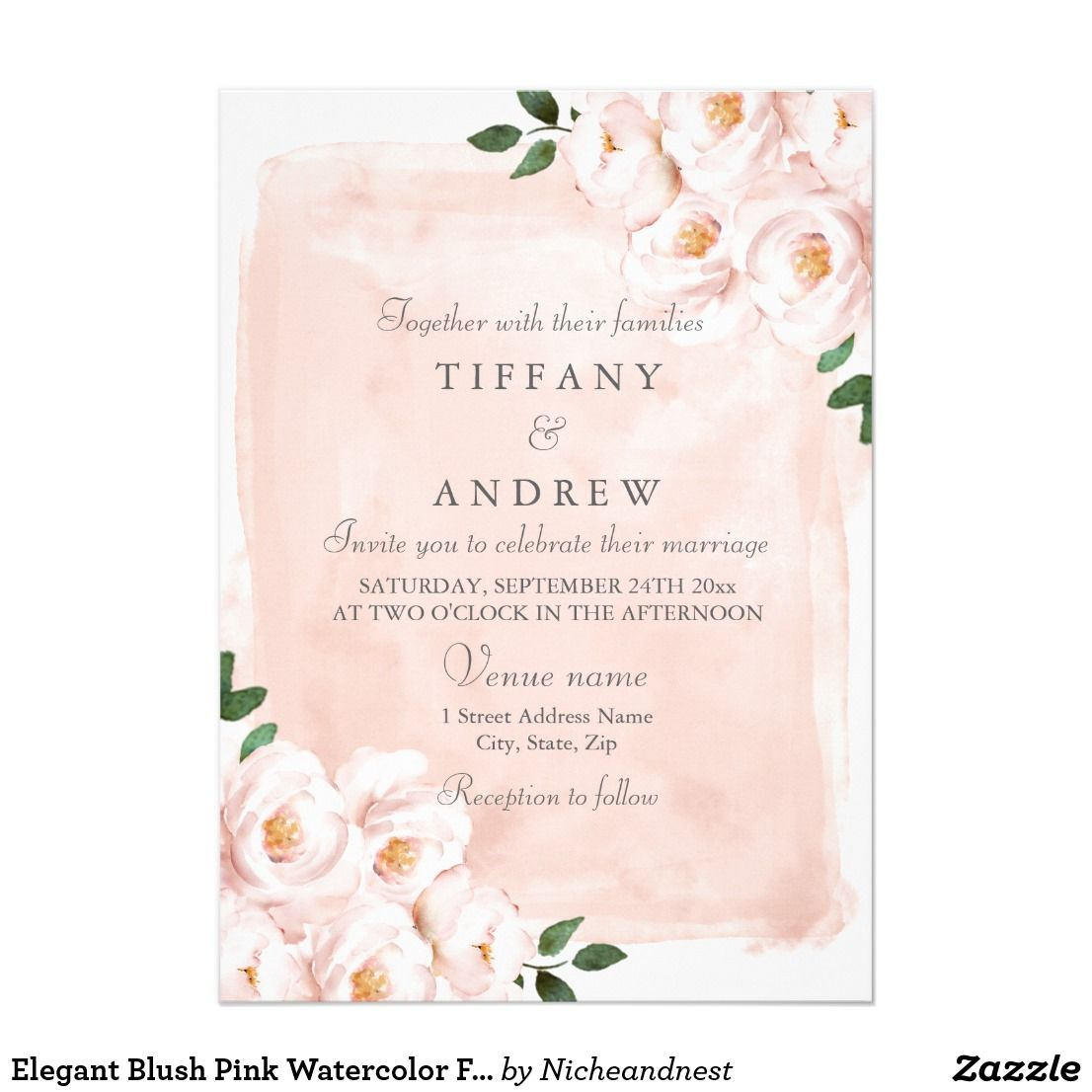 Front /& Back Watercolor Pink and Yellow Marsala Flowery LDS Wedding Invitation With Pictures