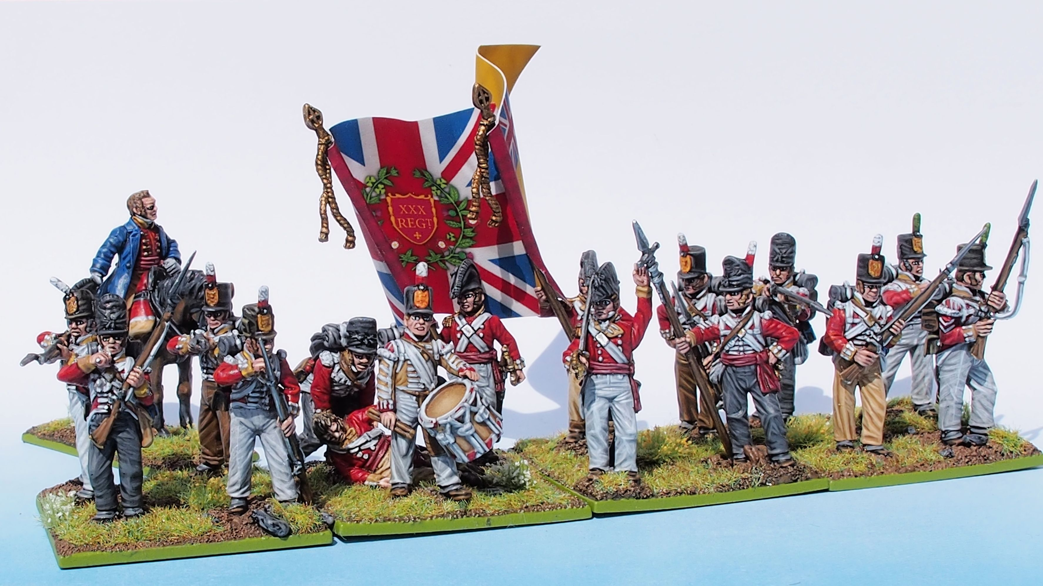 30th Foot Line front with Commander small size painted from Tobias Kirchner (Perry Miniatures)