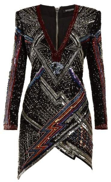 e19cfef60805 Balmain - Lightening Bolt Split Hem Sequined Mini Dress - Womens - Black  Multi