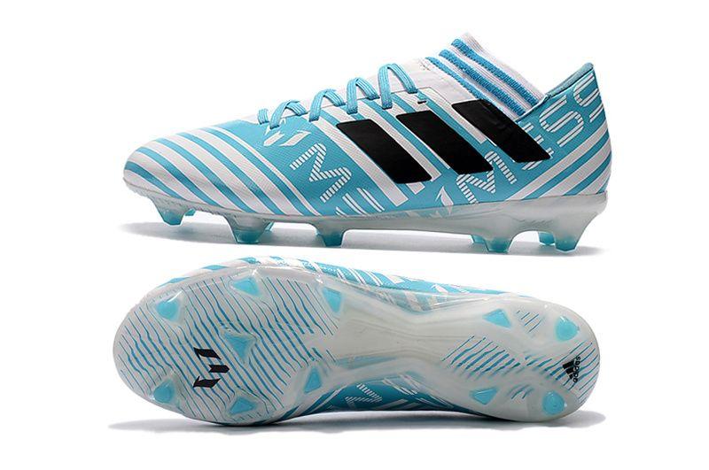 2017 2018 Fifa World Cup New Soccer Cleats Adidas Nemeziz Messi 17 1 Fg White Blue Black Black Adidas Soccer Cleats Adidas Soccer Shoes