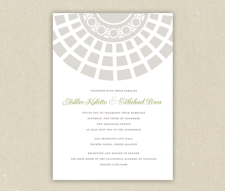 Printable Wedding Invitations Clic Architecture San Francisco City Hall