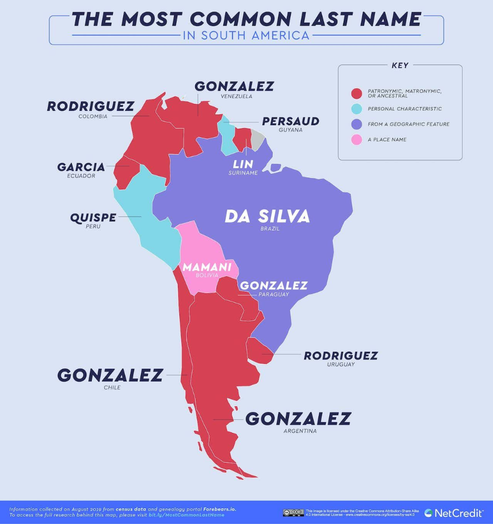 The Most Popular Last Name In Every Country In The World And What They Mean In 2020 Popular Last Names Map Norse Words