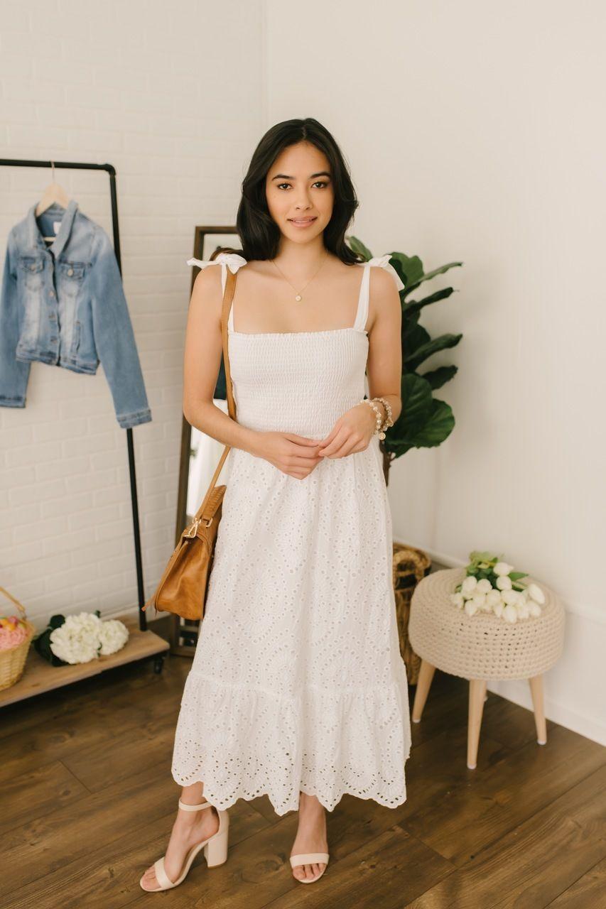 Everly Tie Strap Smocked Scalloped Eyelet Midi White White Midi Dress Dresses Midi Dress [ 1280 x 853 Pixel ]