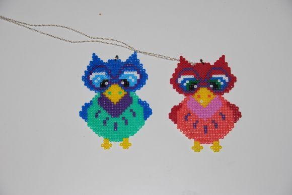 Uglehalskæde -Owls necklace hama perler by Frøken Lilienskjold