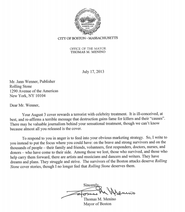 Boston Mayor Tom Menino Letter To Rolling Stone
