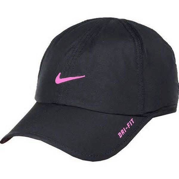 f397333a4b1b14 Nike Girls Dri Fit Featherlight Cap Hat Black Pink Swoosh #Nike #BaseballCap