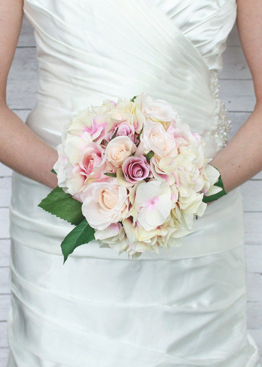 Silk Rose and Hydrangea Bridal Bouquet in Pink Cream