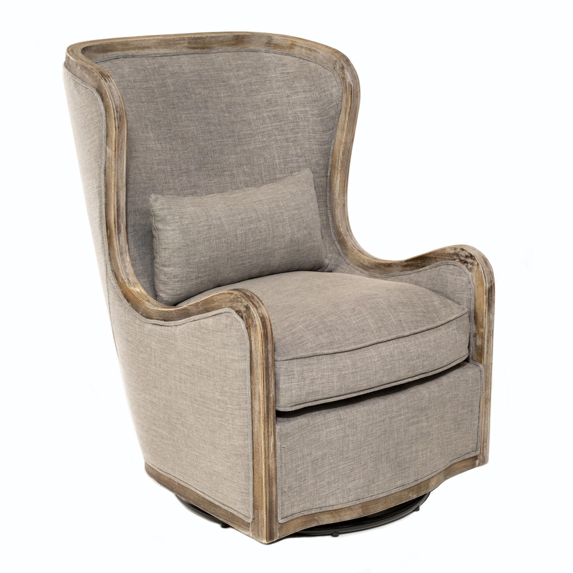 Gray Linen And Wood Valeri Upholstered Swivel Armchair In 2020
