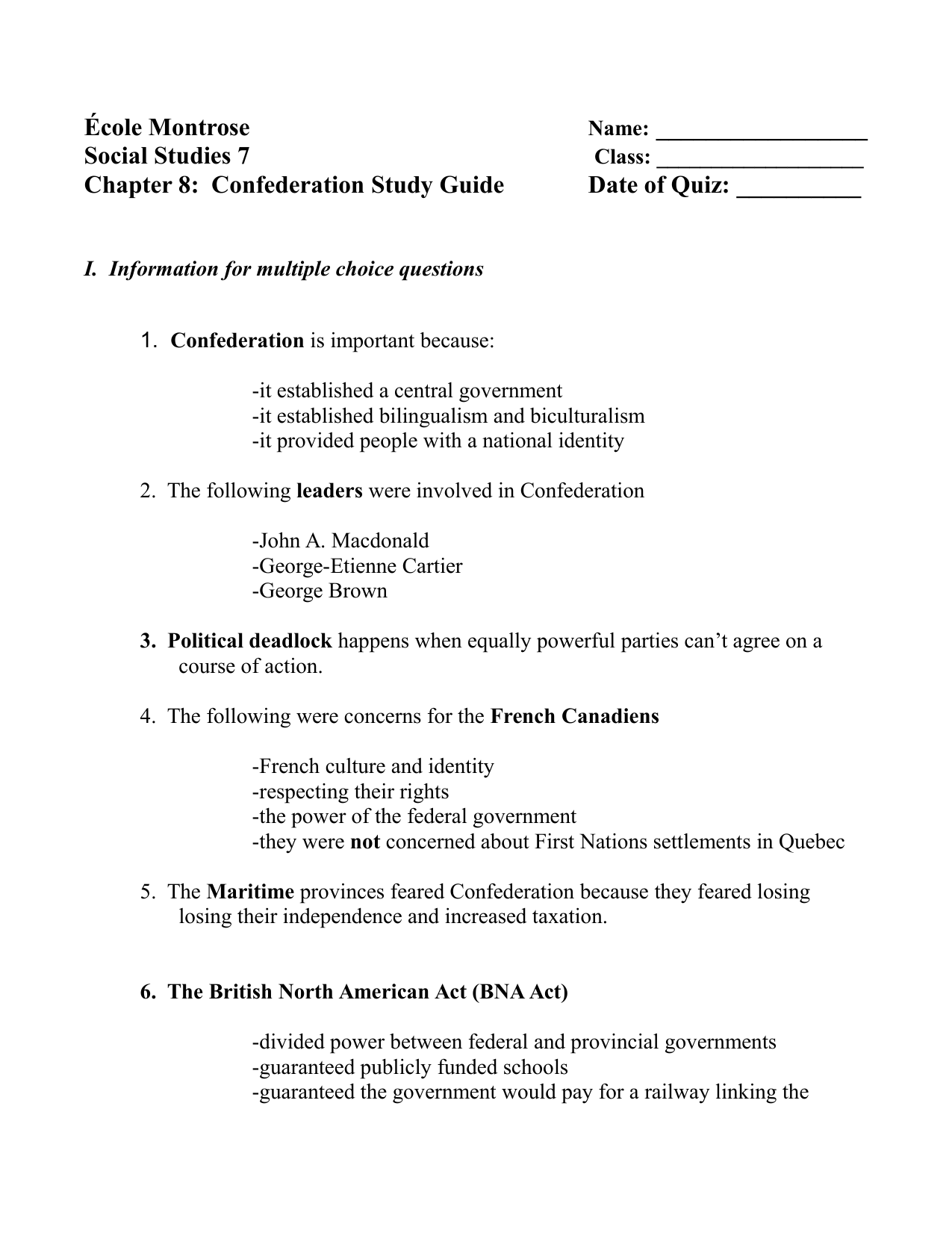 Our Canada Chapter 8 Study Guide