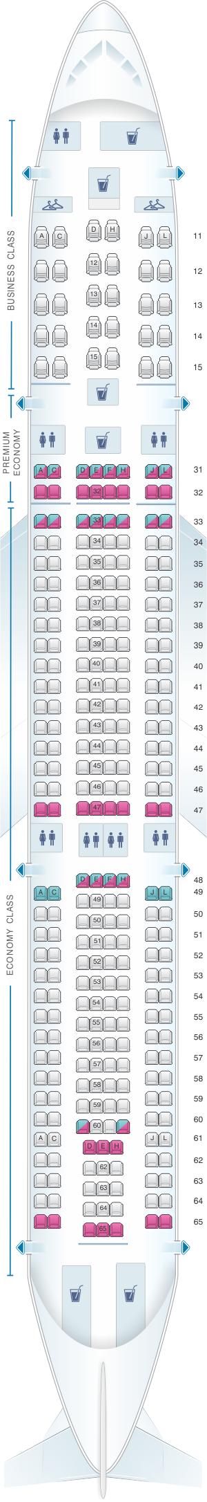 Seat Map Air China Airbus A330 300 (301PAX) | Air China