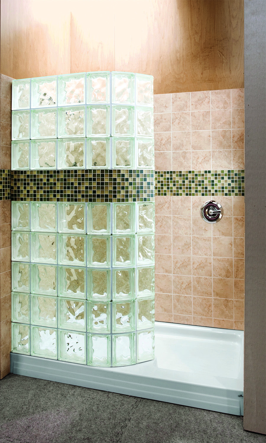 Glass block walls in bathrooms - Curved Glass Block Walk In Shower For A Bath To Shower Conversion