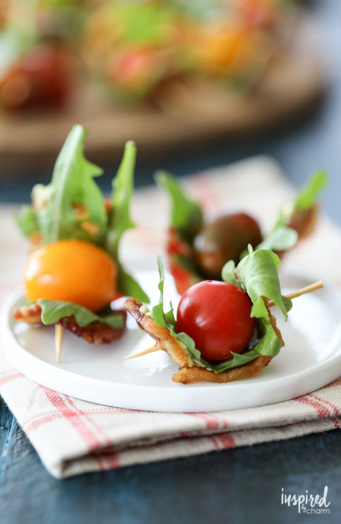 Bacon Tomato Avocado Bites appetizer recipe - summer fall snack appetizer. #bacon #BLT #tomato #farmersmarket #avocado