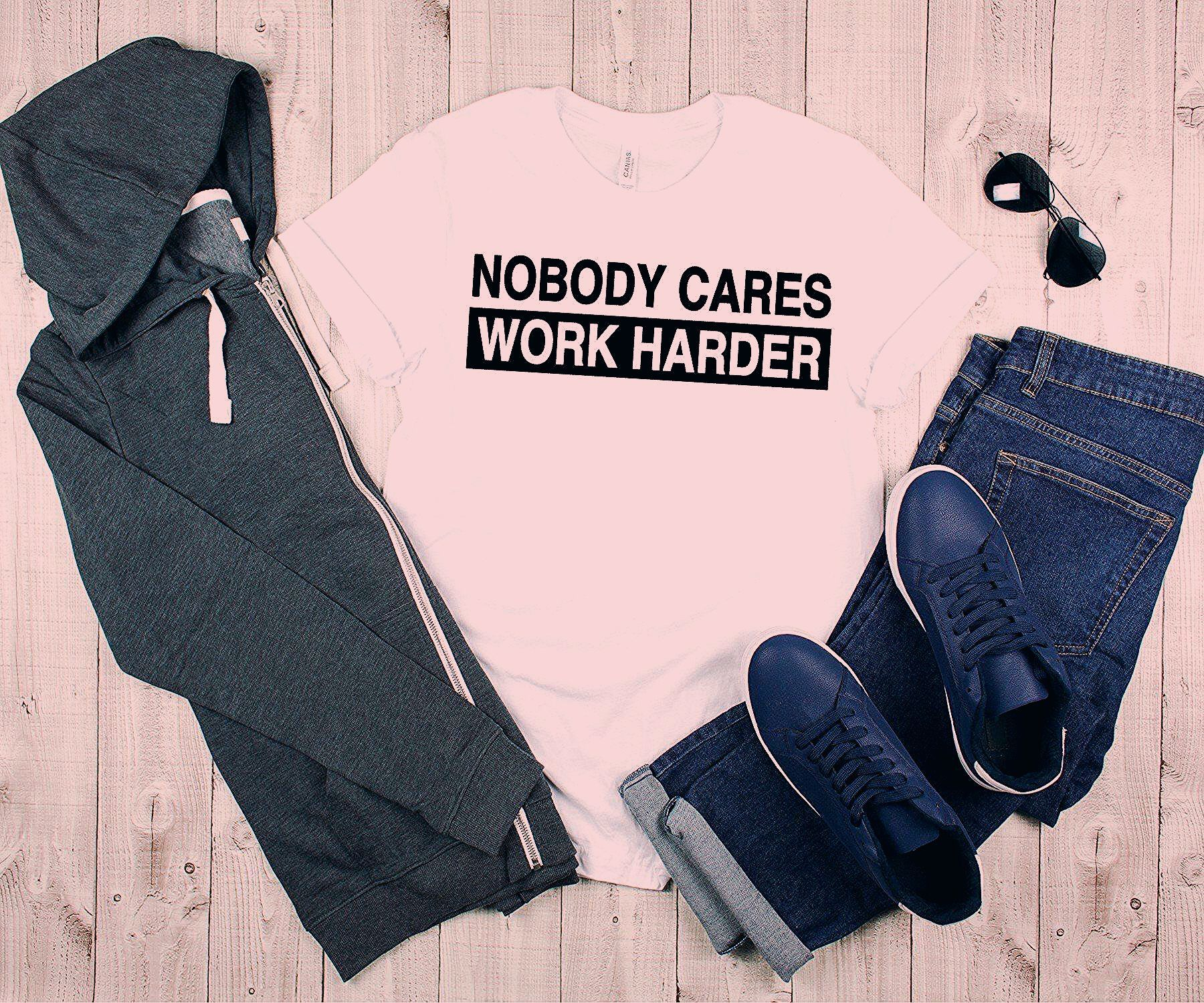 Photo of Nobody Cares Work Harder Inspirational Motivational Fitness Apparel, Gym Tank Top, Gym T-Shirt