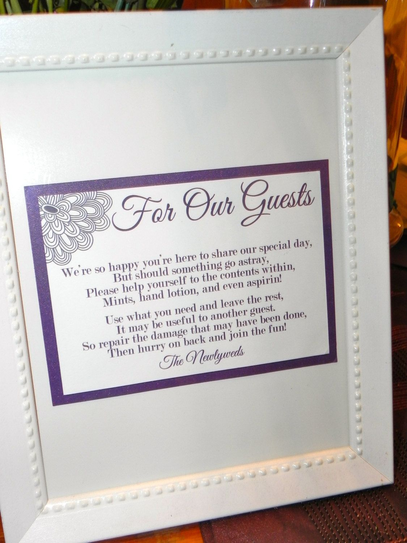reception information on back of wedding invitation%0A Wedding Sign Reception Bathroom Basket Sign   x          via Etsy