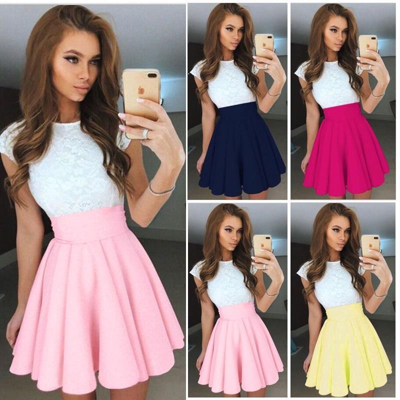 Cool Awesome 2017 Summer Womens Party Cocktail Mini Dress Ladies Bubble Skater Skirt Dresses 2017 2018