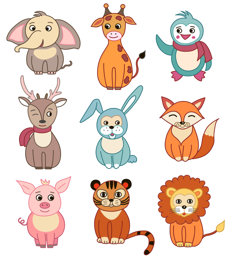 illustration animals vector funny icons setSet Icons