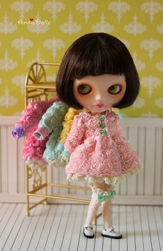 PO Anniedollz Blythe Outfits Flower Flared Coat by anniedollz