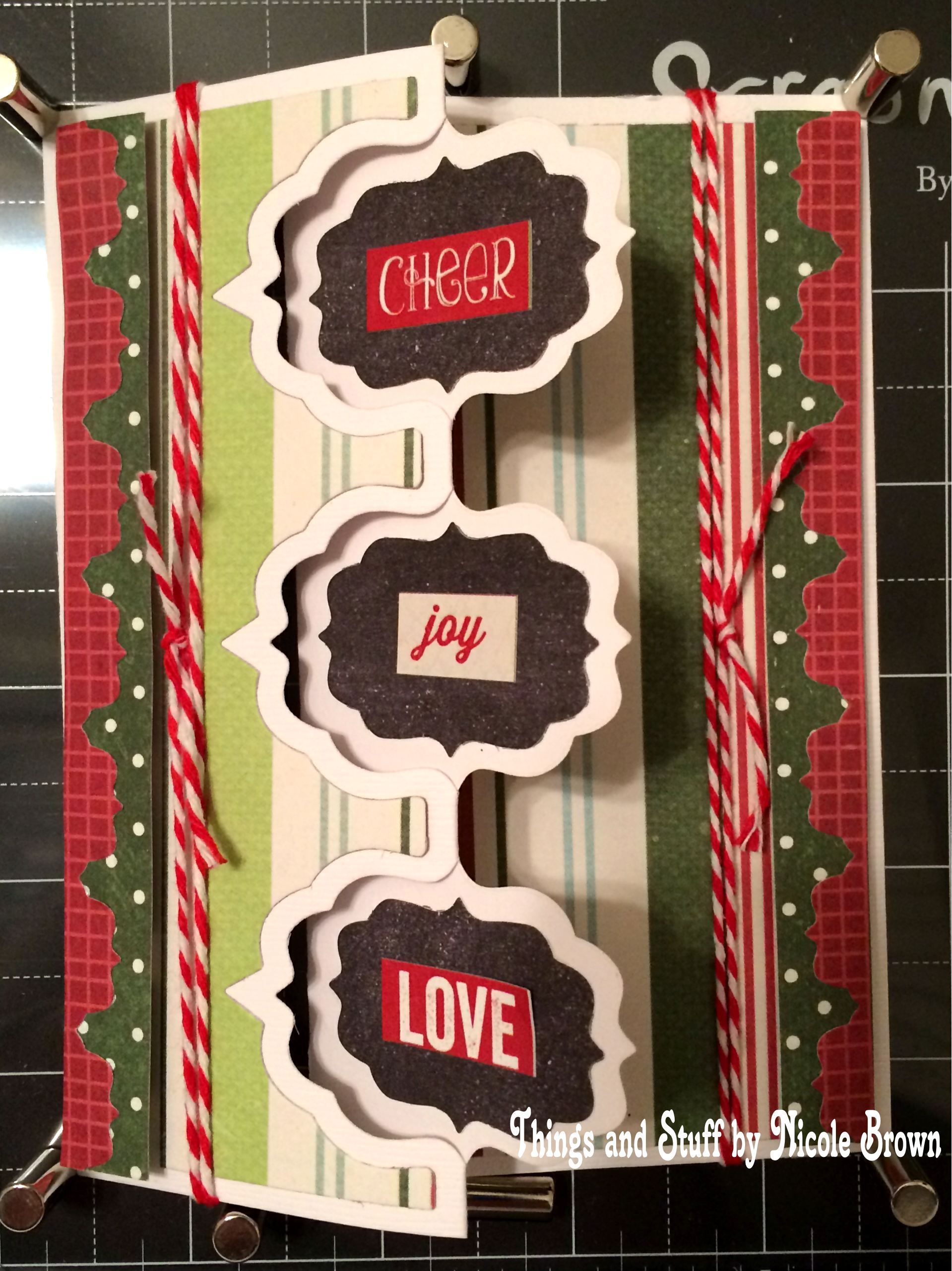Sizzix Triple Fancy Frame Flip-its card made with December Documented Paper by Simple Stories. Handmade by Nicole Brown