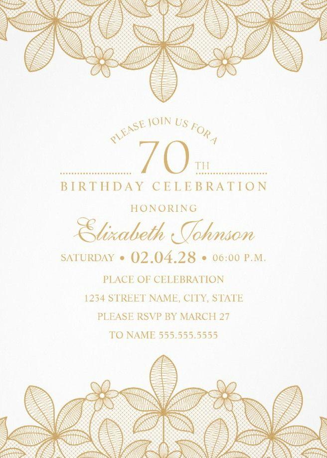 Online Birthday Invitations Templates Golden Lace 70Th Birthday Invitations  Elegant Luxury Invitation .