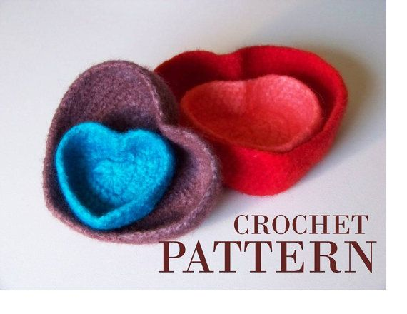 Crocheted Bowl Pattern Instructions For Felted Heart Shaped