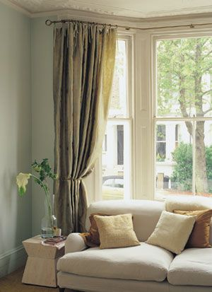 Bay Window Pole With Return Curtains Living Room Living Room