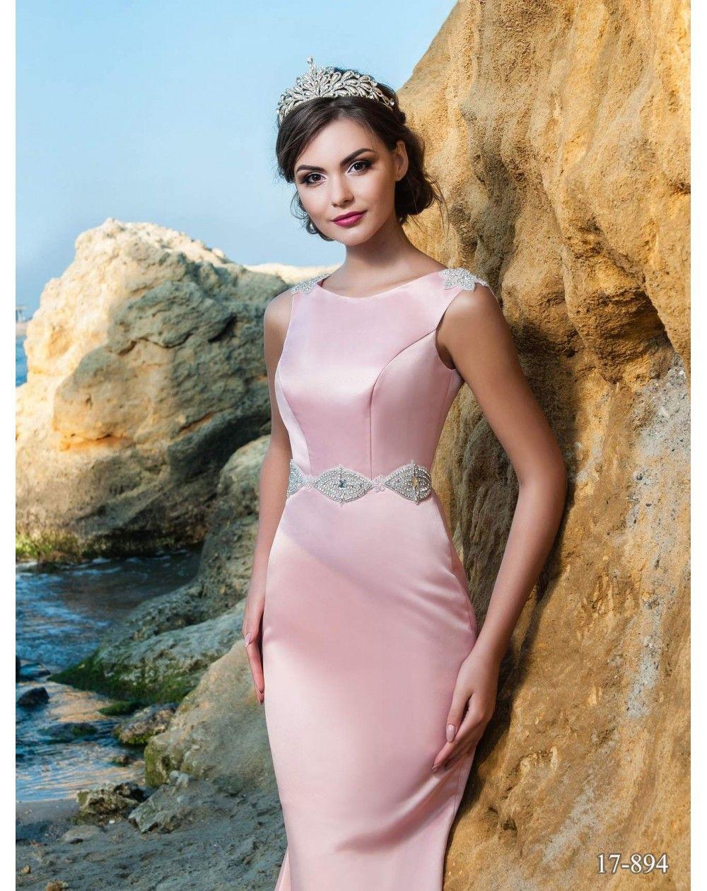 a62749f7d634 Dlhé saténové spoločenské šaty CHELSEY v štýle morská panna zdobené opaskom