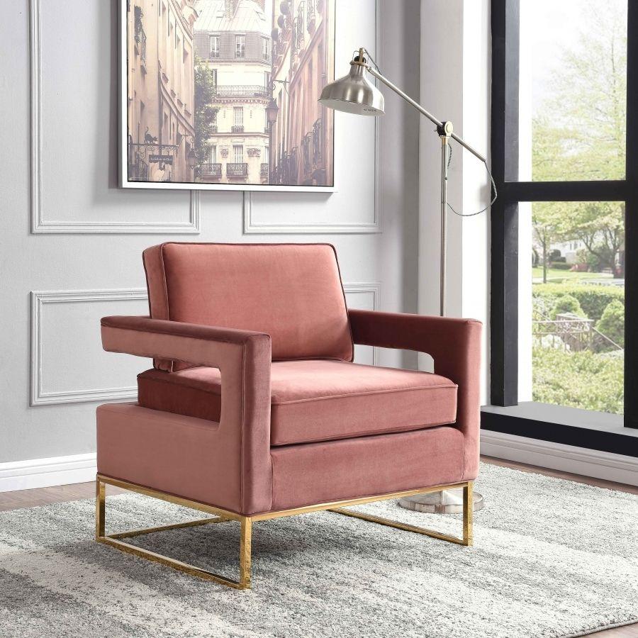 Meridian Furniture 511Pink Noah Pink Velvet Accent