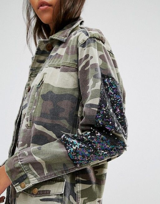 59c774739637d Glamorous Camo Jacket With Sequin Patches | Camouflage | Camo jacket ...