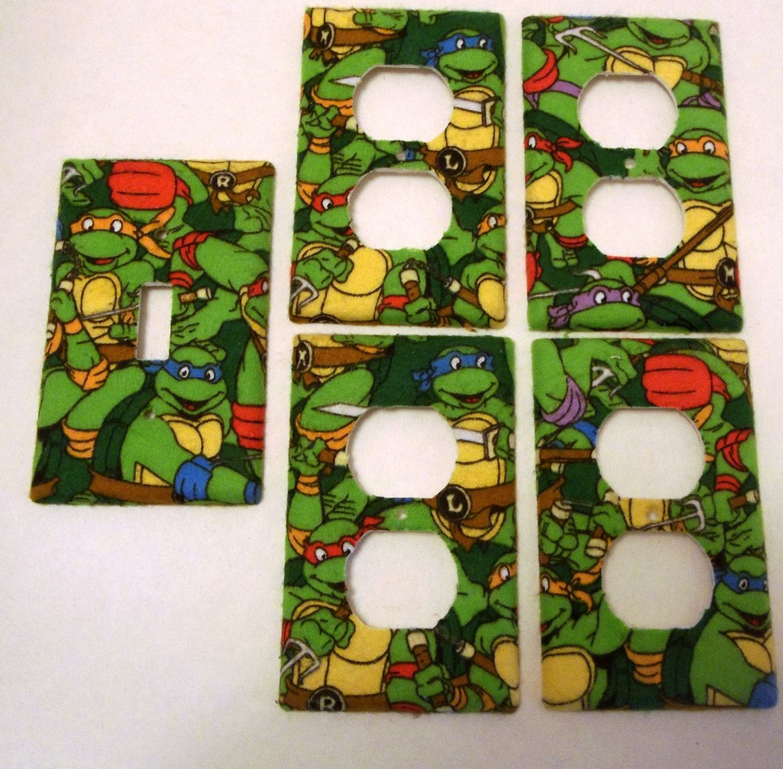 Age Mutant Ninja Turtles Light Switch Cover Plate Set Of 5 Kids Bedroom Bathroom Wall Decor