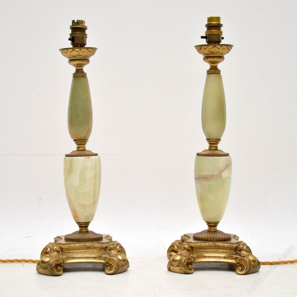 PAIR OF ONYX GILT METAL MOUNTED TABLE LAMPS