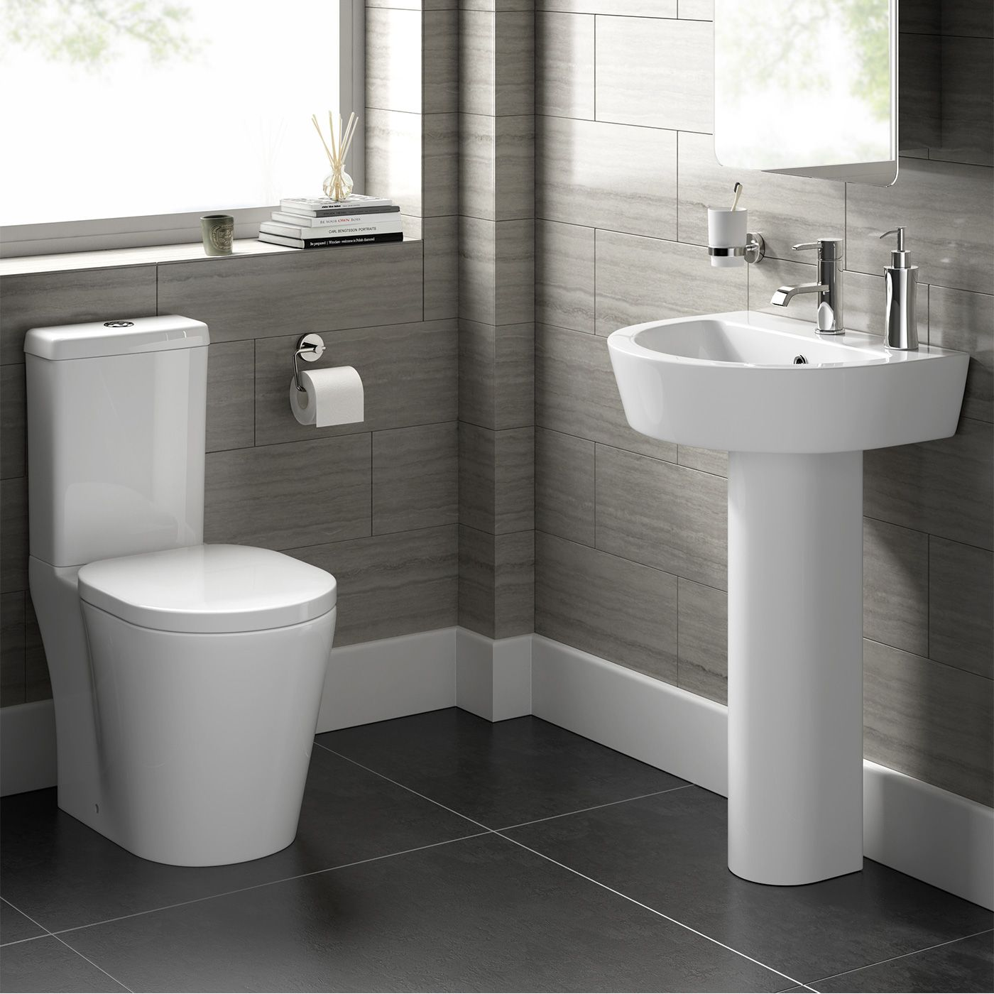 Toilet Albi Close Coupled Toilet and Pedestal