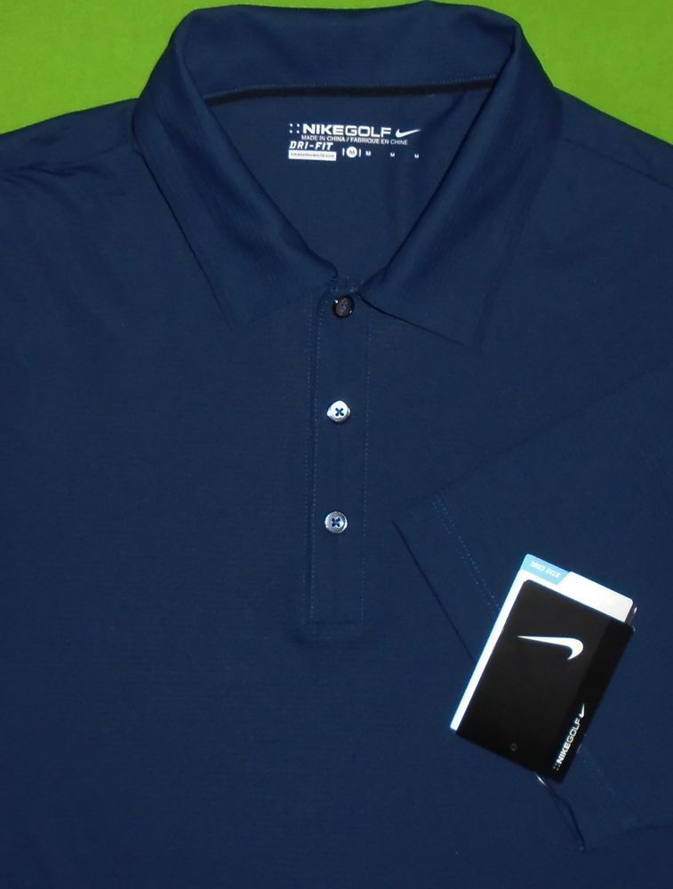 Nike Golf Dri Fit Polo Shirt Wicking Navy Blue wSponsor