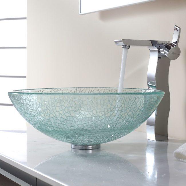 Bathroom Combos Broken Glass Vessel Bathroom Sink with Single Handle