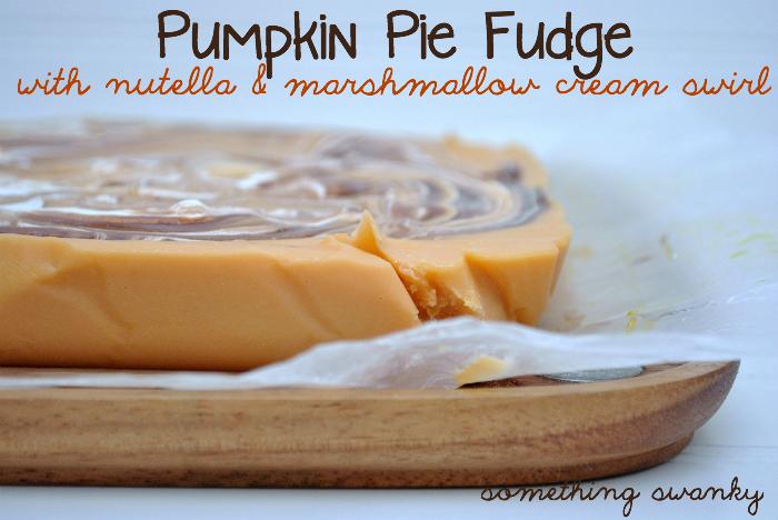 Something Swanky: desserts and designs.: Pumpkin Pie Fudge with Nutella & Marshmallow Cream Swirl