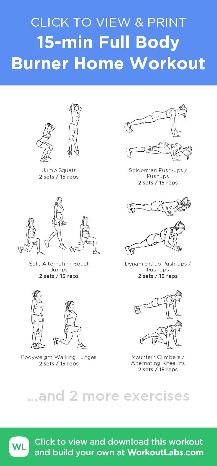 15-min Full Body Burner Home Workout – click to view and print this ...